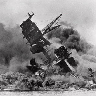 USS Arizona sunk at Pearl Harbor